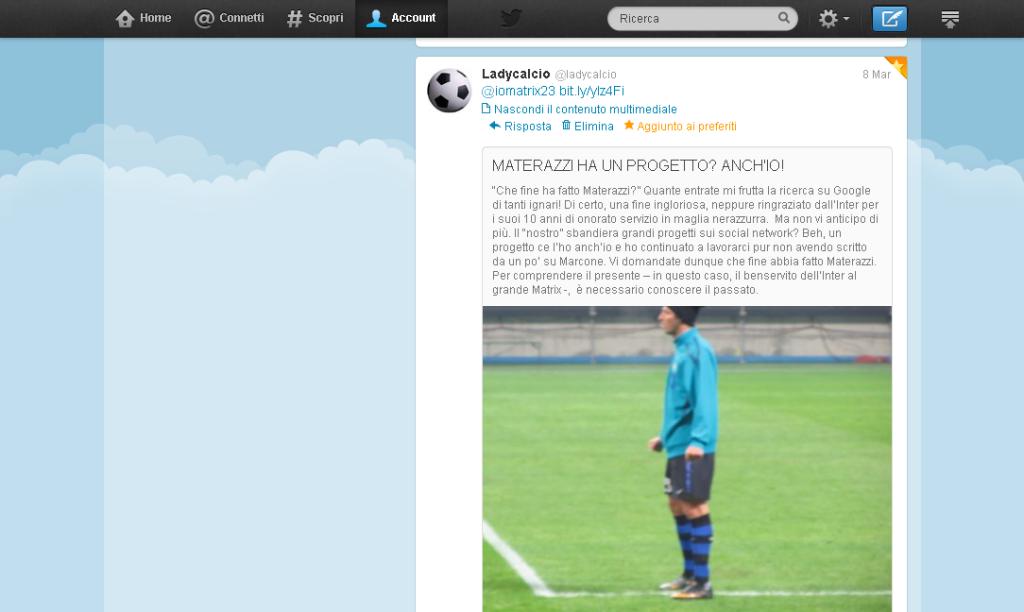 Tweet progetto Materazzi